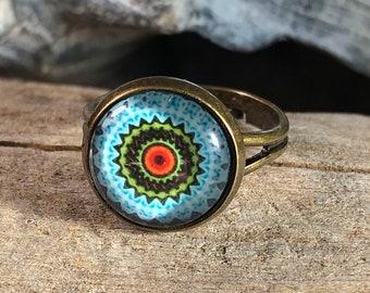 colorful mandala glass 12mm cabochon , antique brass / gold adjustable ring - rainbow blue white / women girl kid men unisex jewelry gift
