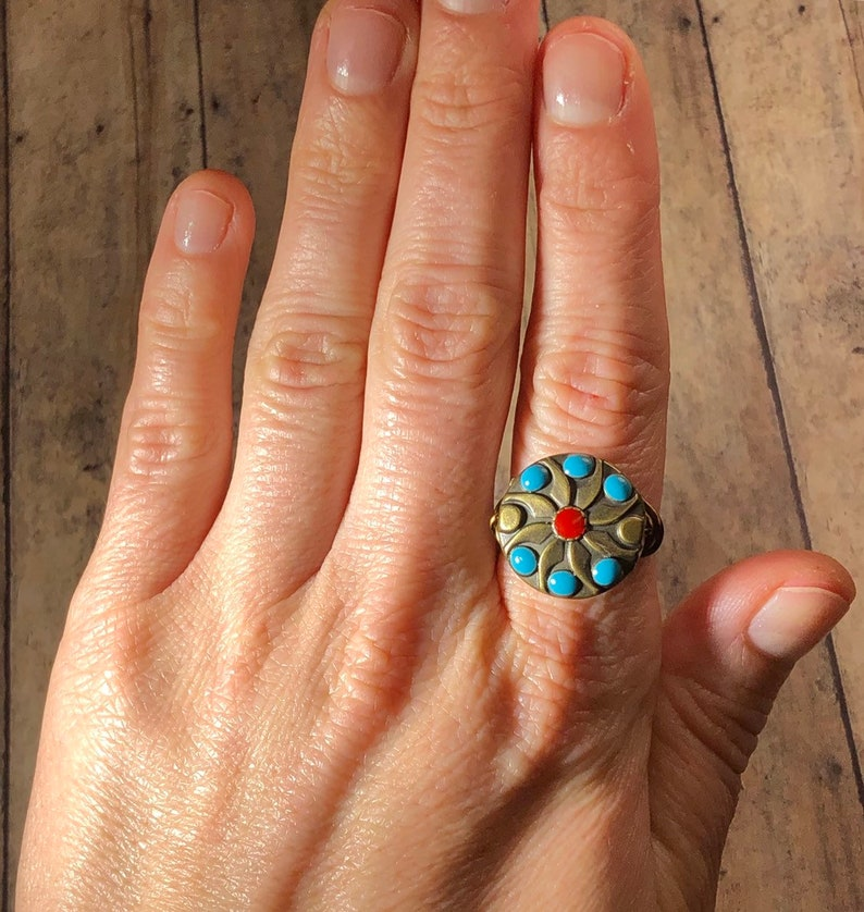 wire wrapped ring southwestern  southwest   native american  boho statement festival Antique Brass metal Flower  red and turquoise