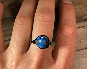 Colorful blue / black / pink / white Clay antique copper wire wrapped wrap ring - size 9 1/2 - hippie bohemian women men jewelry handmade