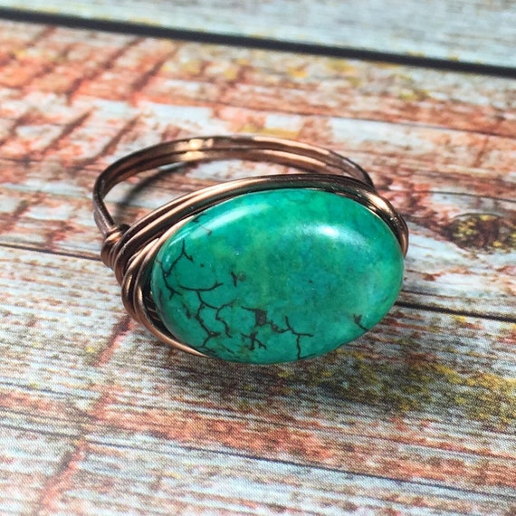 Turquoise Magnesite Wire Wrapped Ovals Earrings