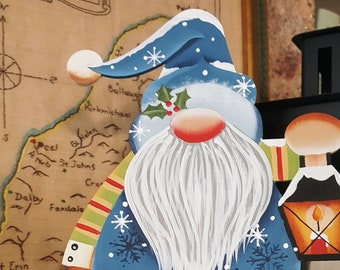 XL Holiday Lantern Gnome - Hand Painted Christmas Ornament - Free shipping - # Colors to Choose from