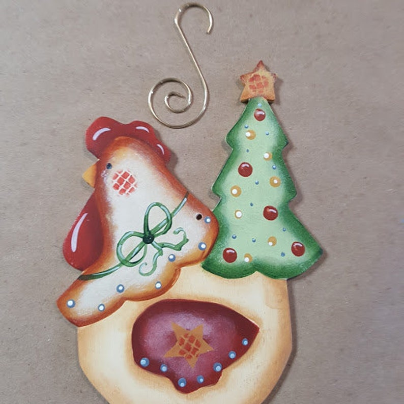 Funky Christmas Chickens with Christmas Tree Tail Roosters image 0