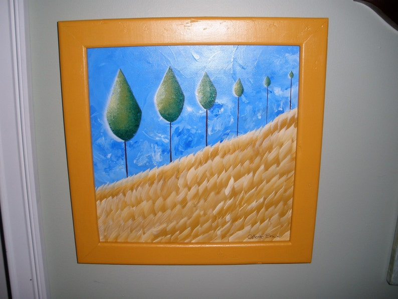 Farmers Tree Line  Framed OOAK Original Acyrlic  Painting image 0