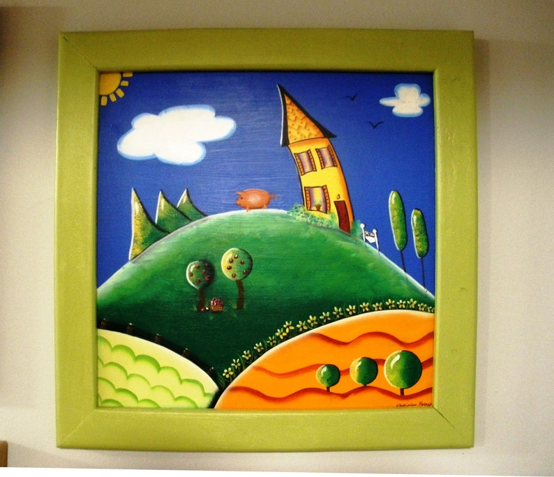Whimsical Crooked House and Pig Original Art  Framed image 0