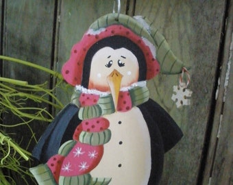 Penguin Hand Painted Ornament Black & White, Wood, FREE Shipping with Snowflake