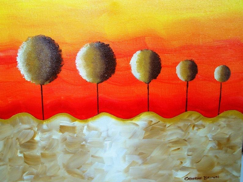 Original Twilight Sunset Landscape  11 X 14 on Canvas  FREE image 0
