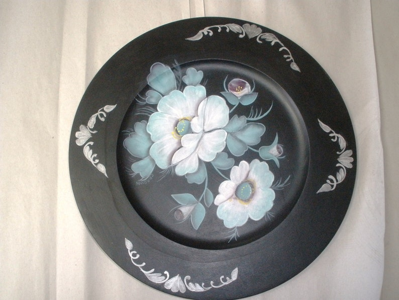 White Poppy on Wooden Plate Hand Painted Acrylic Painting image 0