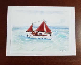 Converted Trawler Boat - Watercolour Print 5 X 7 - Free Shipping - Artist Ron Crouch - Sails and Sea