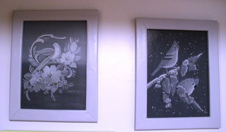Two 2 Framed Acrylic Paintings  Cardinals and Birds on image 0