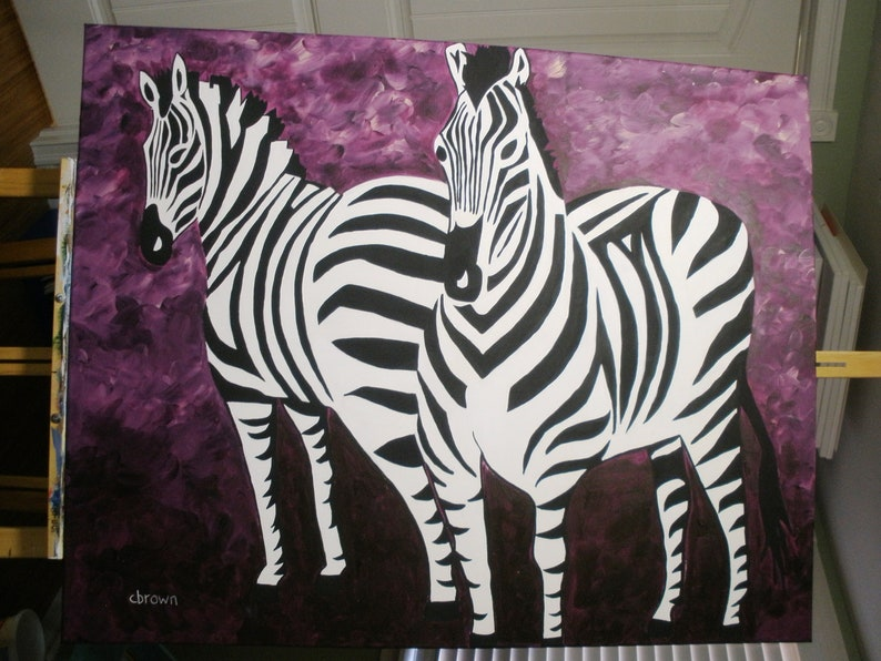 Original Acrylic Painting Zebras Extra Large on Canvas Ultra image 0