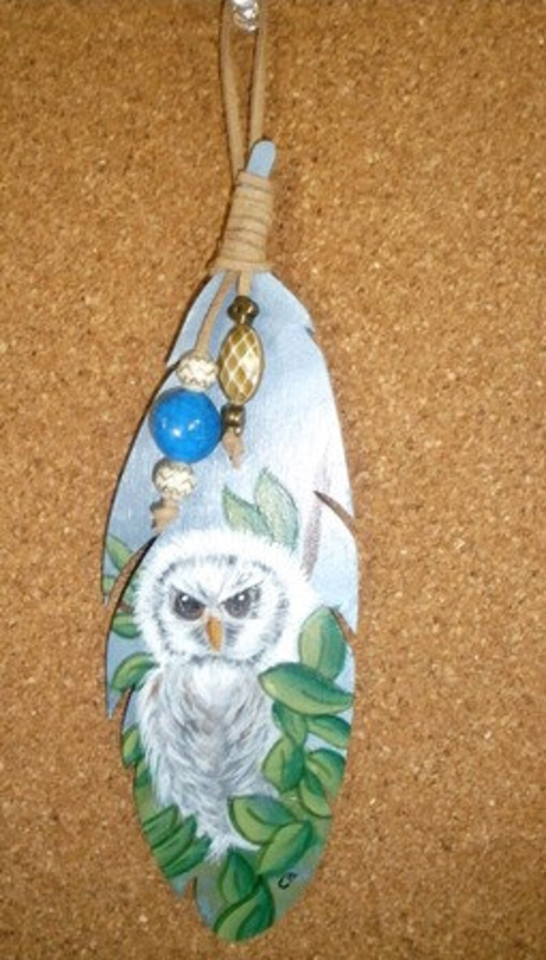 Handpainted Wooden Feather Bookmark Baby Barred Owl Hanger for image 0