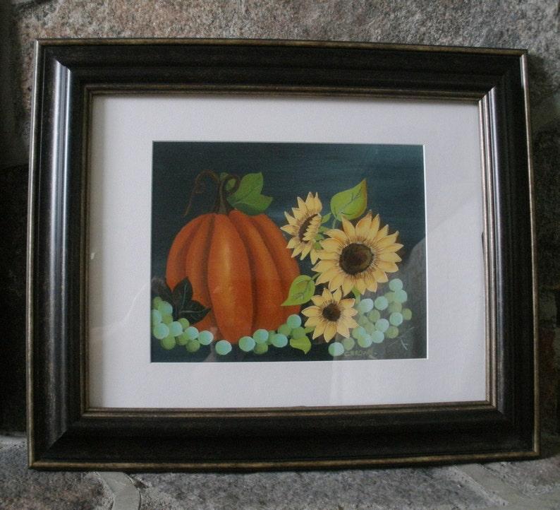 Autumn Sunflower Pumpkin Acrylic Painting Framed Hand image 0