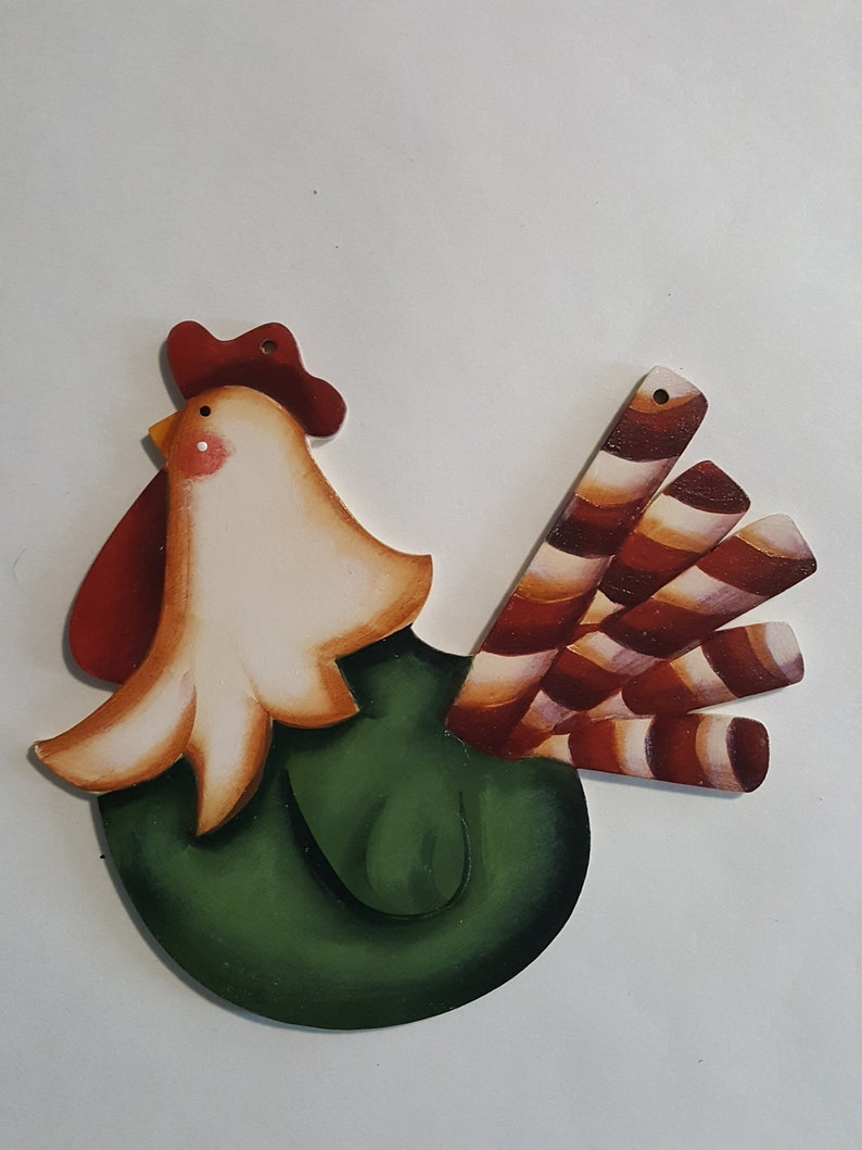 Funky Chicken with Candy Cane Tail  Handpainted Christmas image 0