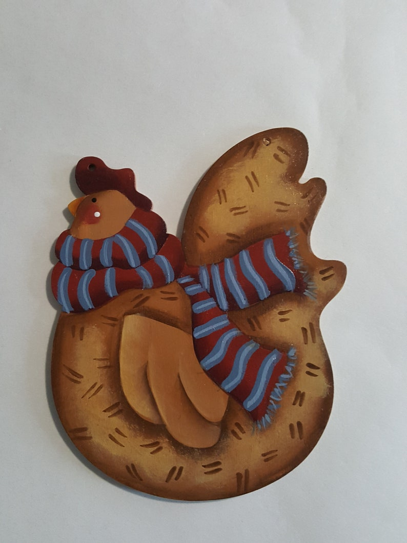 Funky Chicken with Scarf  Hand Painted Hen  Christmas image 0