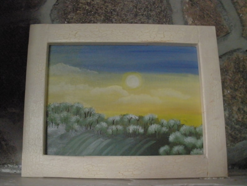 Framed Summer Sunset Acrylic Painting image 0