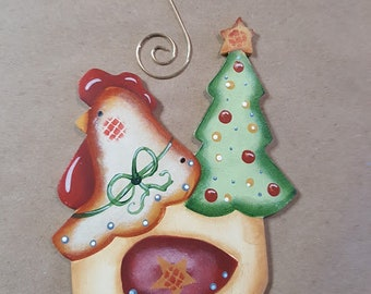 Christmas Chicken Ornament FREE Shipping Wood Handpainted Tree