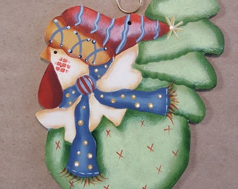 Hand Painted Chicken Ornament with Red Hat and Blue Scarf FREE Shipping, Wood Farm Birds