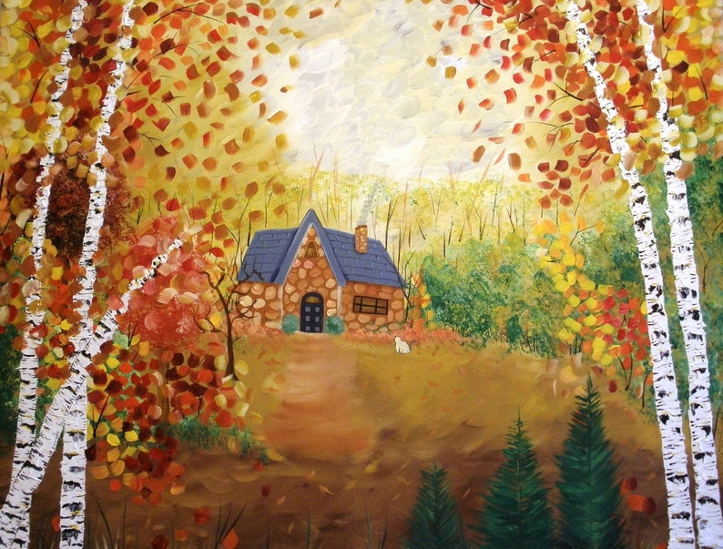 Cottage in the Woods  Large Original Painting SALE image 0