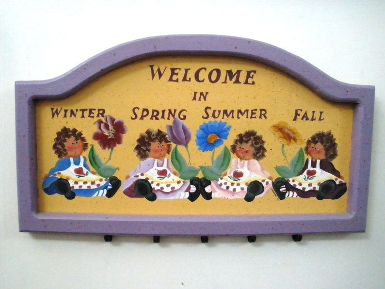 Welcome In Winter Spring Summer Fall Rag Dolls Hand Painted image 0