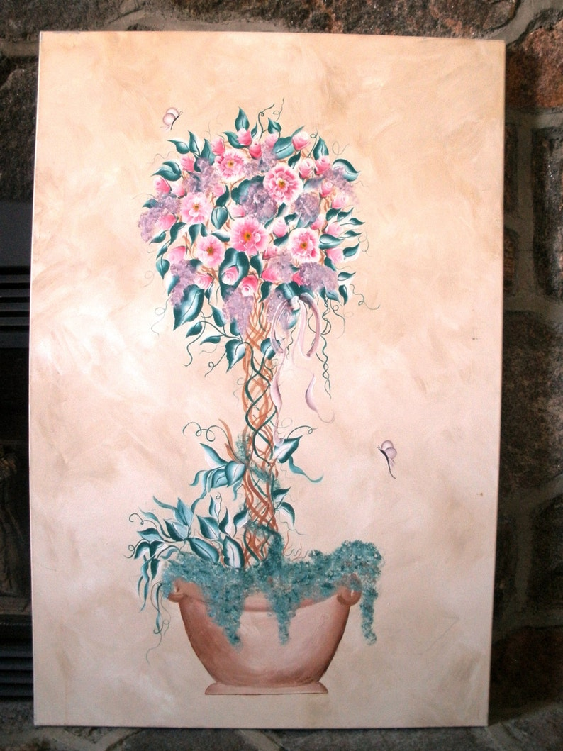 Hand Painted Acrylic Painting Topiary Tree FREE Shipping image 0
