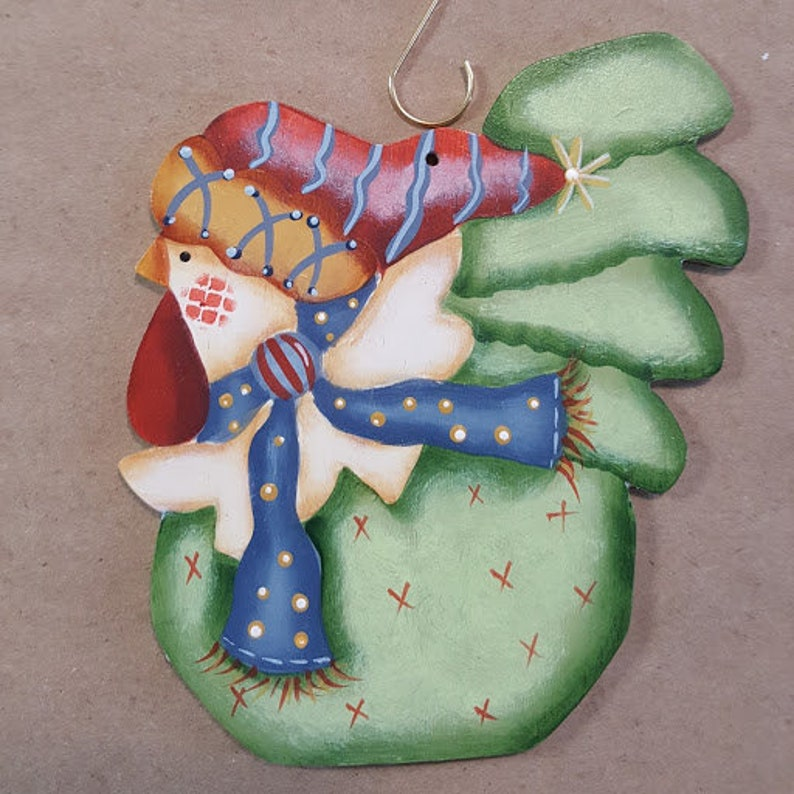 Funky Christmas Chickens Scarf and Hat  Roosters Hens image 0