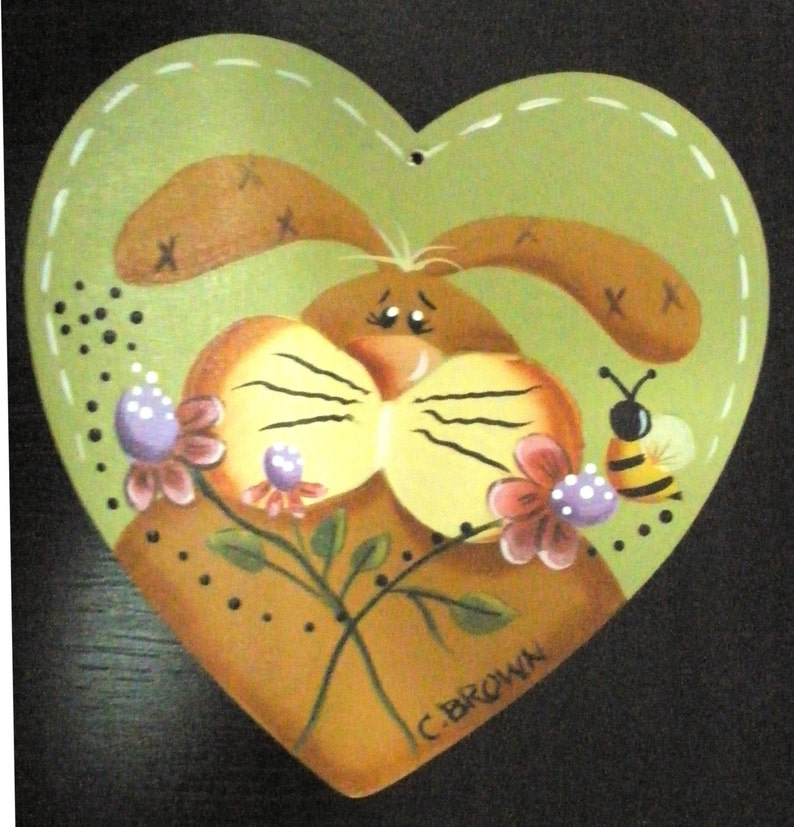 Spring Time Bunny Ornament Hand Painted Easter GIFT Basket image 0