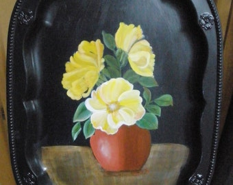 Floral Still Life Acrylic Painting on Tray Still Life FREE Shipping Yellow Flowers TerraCotta Pot