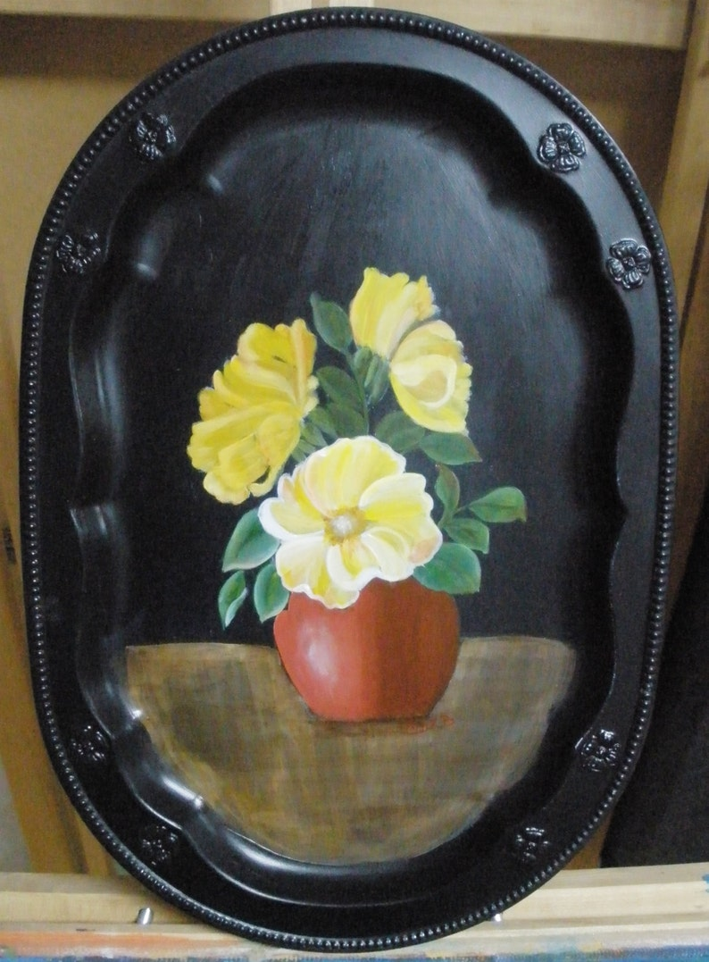 Floral Still Life Acrylic Painting on Tray Still Life FREE image 0