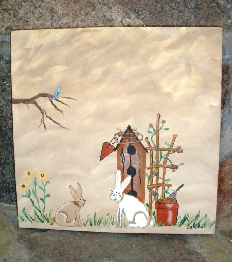 Spring Time Original Painting 12 X 12 on Gallery Canvas Hand image 0