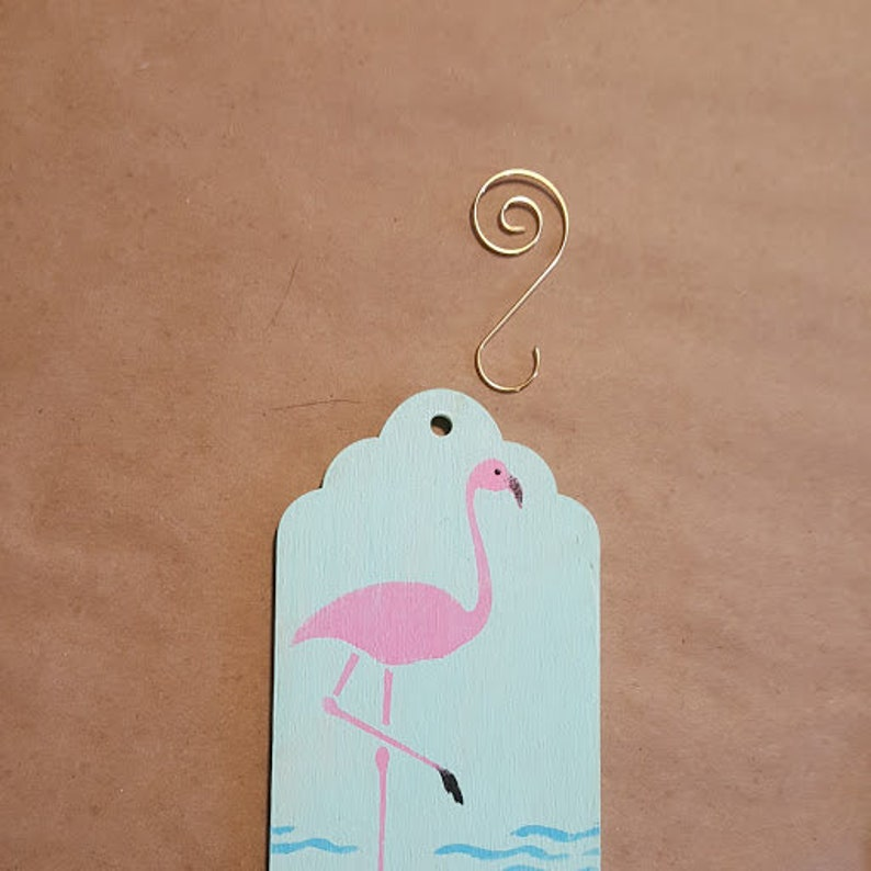 2 Flamingo Wooden Gift Tags or Ornaments FREE SHIPPING image 0
