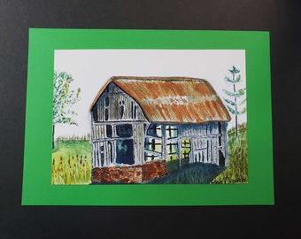 Watercolour PRINT - 5 X 7in. Old Barn, Ontario Canada Free shipping