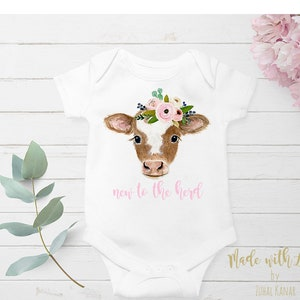 Funny Onesies Hipster Baby Funny Baby Onesie \u00ae New To The Herd Cute Farm Animal Cow Baby Onesie Country Baby Kids Shirt Baby Shower Gift