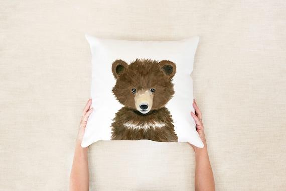 Woodland Nursery Decor, Bear baby pillow, Woodland neutral nursery, woodland animals pillows, pillow+insert, woodland baby shower gift