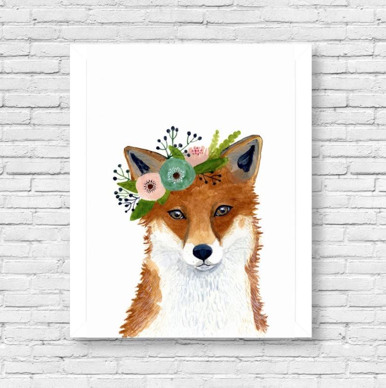 Watercolor fox Woodland Nursery Art Animal Paintings Fox image 0