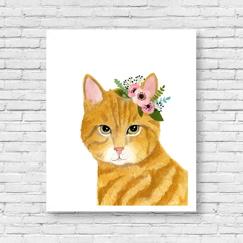 Watercolor Orange Tabby Cat Flower Crown Cat Animal Etsy