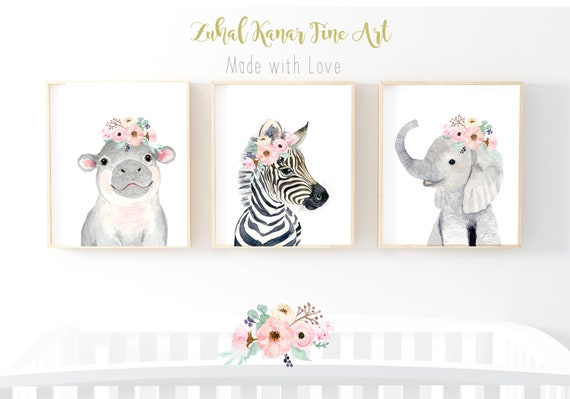 elephant nursery decor baby nippo nursery print Safari nursery art zenra nursery wall art jungle nursery prints,baby girl nursery prints