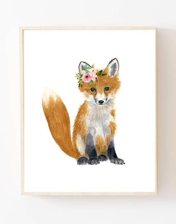 watercolor fox woodland nursery art animal paintings fox etsy