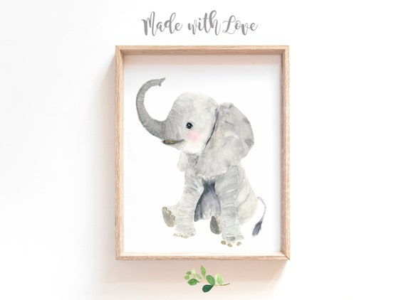 Mother Elephant and Baby//Animal Poster//Illustration//Africa// 17x22 inch
