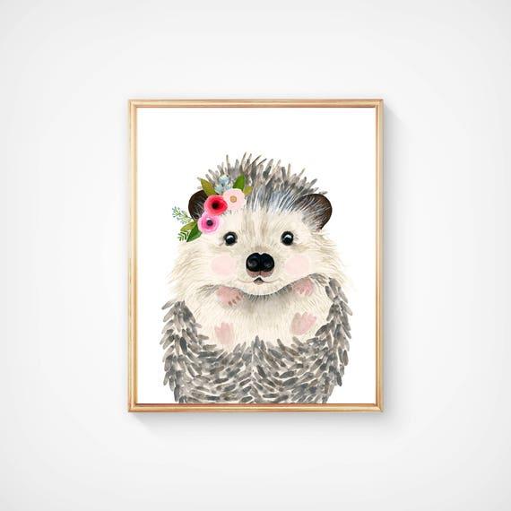 Erizo bebe acuarela bosque vivero pinturas de animales