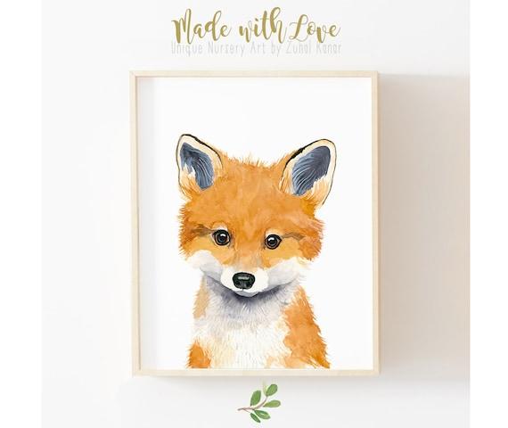 Fox painting, Nursery fox print, animal paintings, nursery decor,woodland nursery, Childrens Wall Decor, Kids Art Print, neutral nursery