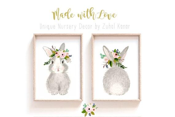 Nursery wall decor, Woodland nursery decor, Animal Prints, Baby girl nursery, Woodland baby shower gift, Rabbit nursery, bunny painting