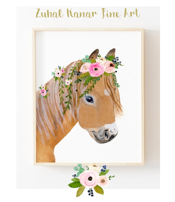 Pony Art Prints Decor Horse Pony Paintings Equestrian Decor Etsy