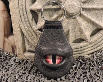 Dragon eye keychain (Grey Leather with Red Eye)