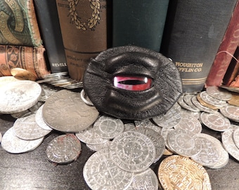 Dragon eye Brooch (Black leather with Silver/Red Eye)