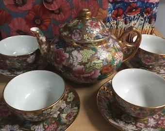 Rare Vintage China Jingdezhen Flower / Floral Tea Pot Cup and Saucer Set Brilliant Gold SALE