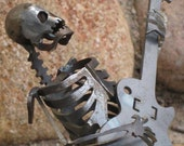 Zombie Skeleton Musician Guitar Solo Metal Sculpture - Free Shipping in US