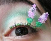 Lilac Eyelash Jewelry - pastel purple flower false eyelashes