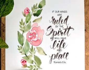 Romans 8 Life and Peace Calligraphy