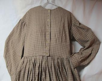 8aee2515070b8 Bust 41 inches / Waist 33 inches - Work Dress Civil War Reenactment - tan  plaid homespun 100% cotton - metal buttons - Victoiran reenacting