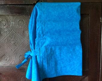 Blue slat bonnet - historic reenactment, old fashioned - prairie, civil war, wild west, little house, trek - sun, working, primitive bonnet